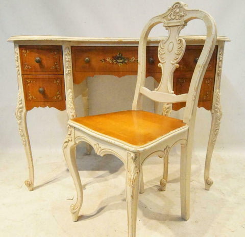 Beautiful French 1920's Hand Painted Vanity Desk & Chair!!