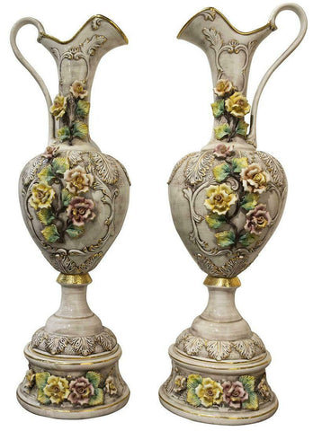 Ewers, Capodimonte, Italian Pair, Beautiful Large Home Decor!! - Old Europe Antique Home Furnishings