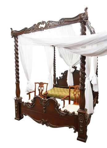 Bed, Canopy, Carved Stained Mahogany, Gorgeous Bed!! - Old Europe Antique Home Furnishings