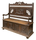Bench, Coffer, Breton Elaborately Carved Oak, 19th C., (1800s), Gorgeous Antique!! - Old Europe Antique Home Furnishings