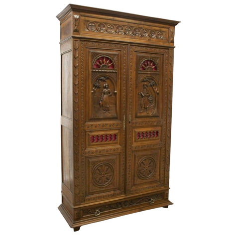 Antique Breton Armoire, French Provincial Carved Oak, 1800's, 19th C., Stunning! - Old Europe Antique Home Furnishings