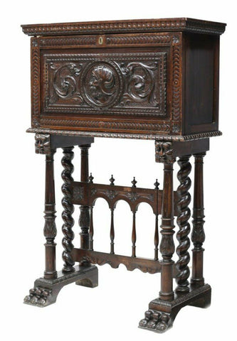 Antique Cabinet, Vargueno Unique Spanish Baroque Style,19th C. (1800s), Charming!! - Old Europe Antique Home Furnishings