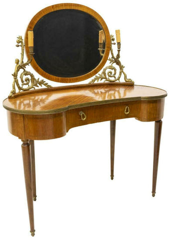 Table, Dressing, Vanity Mirror, Continental, Louis XVI Style,  Handsome Vintage Piece!! - Old Europe Antique Home Furnishings