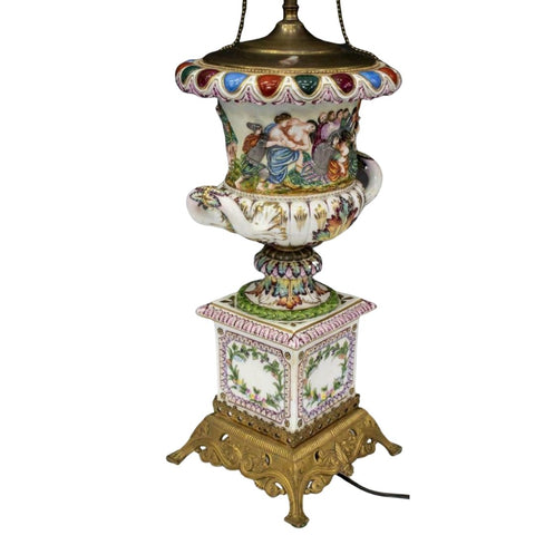 Table Lamp, Porcelain, Capodimonte Style, Figural Urn, Gorgeous!! - Old Europe Antique Home Furnishings