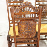 Chairs, Breton Side, Set of 6 French Carved Oak Breton Rush Seat Chairs, Fancy! - Old Europe Antique Home Furnishings