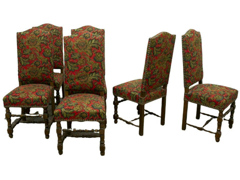 Chairs, French Louis XIII Style Upholstered, Set of Six, Colorful Early 1900s, Gorgeous Antique - Old Europe Antique Home Furnishings