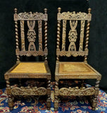 Chairs, Side, Carved Renaissance Style, A Pair of Caned Chairs, Gorgeous Antiques!!! - Old Europe Antique Home Furnishings