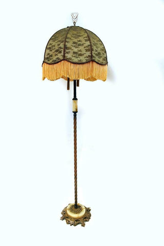Charming 1920's Agate and Cast Iron Foor Lamp, early 1900s!!