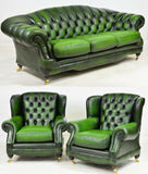 Chesterfield Sofa and Chairs, British Leather Green Curved Back, Vintage! - Old Europe Antique Home Furnishings