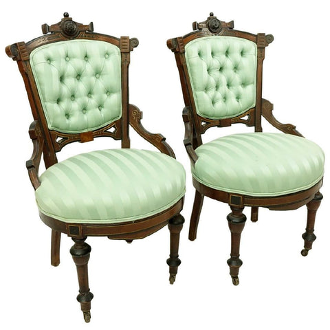 Classy Pair of Victorian East Lake Side Chairs, 19th century ( 1800s )!!! - Old Europe Antique Home Furnishings