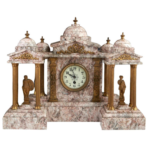 Antique Clock Set, Violette Marble, Gilt Spelter, Three Piece, Continental, Absolutely Magnificent, 1800s! - Old Europe Antique Home Furnishings
