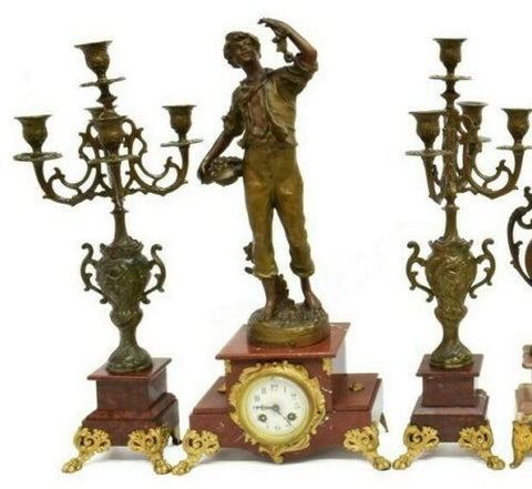 Clock, Antique French Figural & Garniture Set, Gorgeous Set!! - Old Europe Antique Home Furnishings