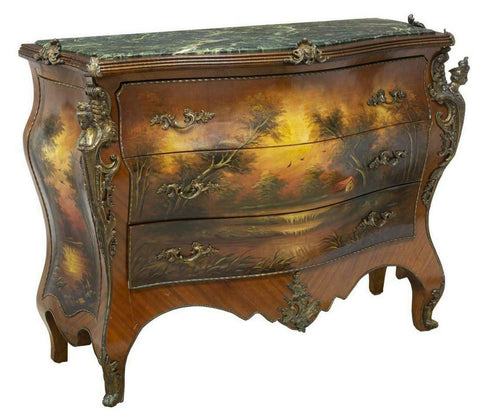 Commode, French Style, Verde Marble Tops, Painted With Ormolu Mounts, Gorgeous!! - Old Europe Antique Home Furnishings