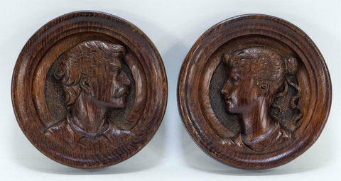 Antique Plaques, Wooden Portrait, Opposing English Carved Plaques, Handsome Decor! - Old Europe Antique Home Furnishings