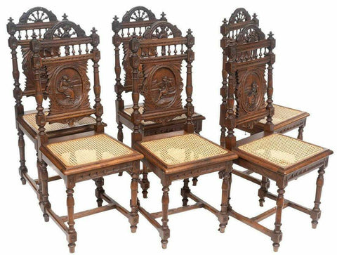 Dining Chairs, French Breton, Set of 6, Vintage, Heavily Carved, Rattan Seat!! - Old Europe Antique Home Furnishings