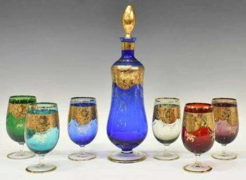 Gorgeous Set of Drinks Service, Color Glass ( 7) Seven Piece, Italian Parcel Gilt, Gorgeous Set! - Old Europe Antique Home Furnishings