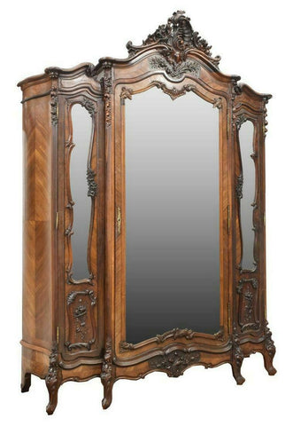 Armoire, French Louis XV Style Rosewood, 19th C., 1800s, Outanding Antique! - Old Europe Antique Home Furnishings