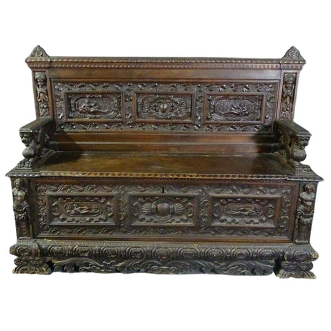 Antique Hall Bench / Seat, Carved Griffin Italian Hall Seat, 18th / 19th C.!!