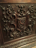 Extraordinary French Renaissance Style Carved Oak Bonnetiere,19th C. (1800s )!!! - Old Europe Antique Home Furnishings