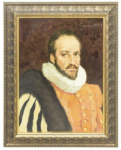 HANDSOME FRAMED PORTRAIT PAINTING OF A NOBLEMAN, 1974 Vintage - Old Europe Antique Home Furnishings
