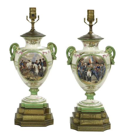 Antique Lamps, Urn, Pair of French Porcelain Urns Converted to Lamps, Gorgeous! - Old Europe Antique Home Furnishings