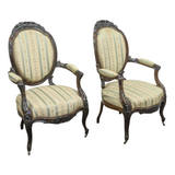 Antique Armchairs, Fauteuils, Napoleon III, French Mahogany, 1800's, Gorgeous Pair!! - Old Europe Antique Home Furnishings