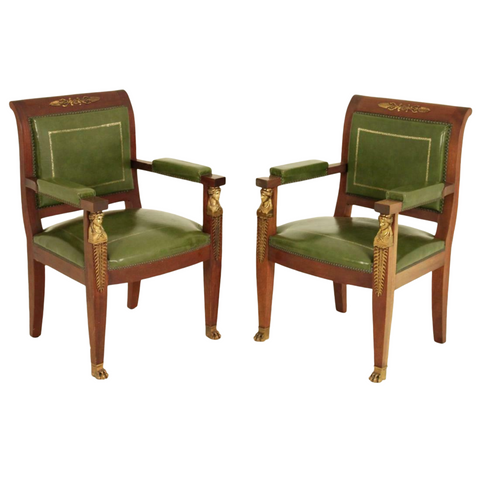 Fauteuils, Chairs, Vintage, French Empire Style, Mahogany, Green Leather, Early 1900s, Pair - Old Europe Antique Home Furnishings