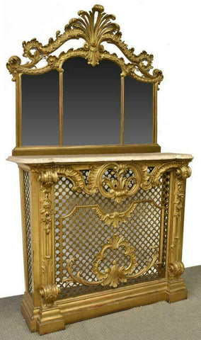 Antique Fireplace Surround, Venetian Gilt, Louis XV Style, 1800s, Gorgeous!! - Old Europe Antique Home Furnishings