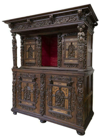 Antique Cabinet, Flemish, William Randolph Hearst Estate, Finely Carved Oak 17th C., Phenomenal!! - Old Europe Antique Home Furnishings