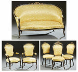 Parlor Set French Louis XV Style Ebonized Beech and Parcel Gilt, Settee 2 Armch - Old Europe Antique Home Furnishings