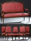 Parlor Set, French Louis XVI Style Six-Piece Carved Walnut Early 1900s,Red- Striped, Charming!! - Old Europe Antique Home Furnishings