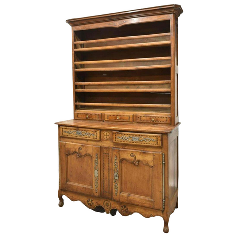 Antique Display Cupboard, Vaisselier, French Louis XV Style Fruitwood,1800's!! - Old Europe Antique Home Furnishings