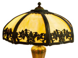 GORGEOUS AMERICAN SLAG GLASS & GILT METAL TABLE LAMP, early 1900s!! - Old Europe Antique Home Furnishings