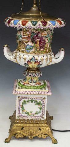 Lamp, Table, Urn, Capodimonte Style, Figural, Gorgeous Vintage/Antique!! - Old Europe Antique Home Furnishings