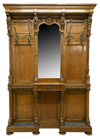GORGEOUS CONTINENTAL CARVED OAK MIRRORED HALL TREE, 19th century ( 1800s )!! - Old Europe Antique Home Furnishings