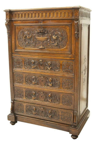 Antique Desk, Secretaire, French Henri II Style Walnut A Abattant, 1800s, Beautiful! - Old Europe Antique Home Furnishings