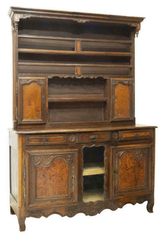 GORGEOUS FRENCH PROVINCIAL LOUIS XV STYLE WALNUT VAISSELIER, 19th C.( 1800s )!! - Old Europe Antique Home Furnishings