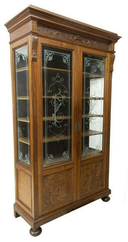 Antique Bookcase, Italian Carved Etched Glass, Walnut, 19th Century (1800s), Gorgeous for display!! - Old Europe Antique Home Furnishings