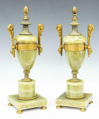 Cassolettes, Gilt Metal, Pair of Neoclassical Style Onyx, Early 1900s, Vintage! - Old Europe Antique Home Furnishings