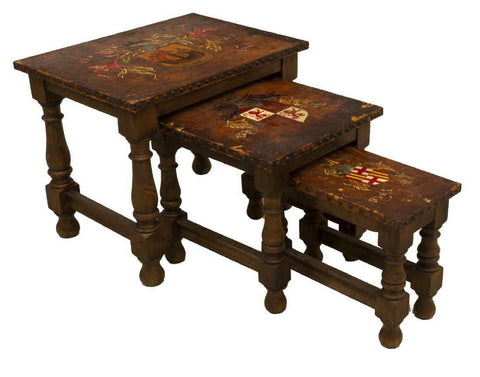 Gorgeous Spanish Leather-Top Walnut Nesting Tables, early 1900s!!! - Old Europe Antique Home Furnishings