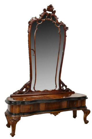 Mirrored Vanity, Venetian, Walnut, Black Glass Top, Amazing Piece !!! - Old Europe Antique Home Furnishings