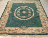 Gorgeous Green Floral Oriental Wool Rug!! - Old Europe Antique Home Furnishings