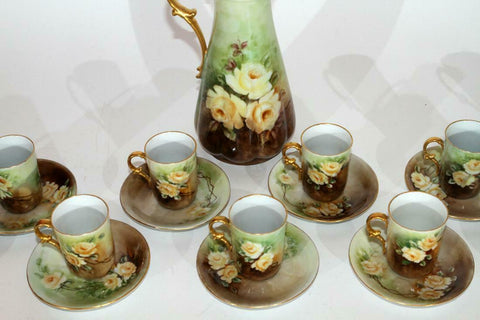 Antique Chocolate Set, Porcelain, Pitcher, Cups, Hand Painted, CA, Gorgeous 1910!! - Old Europe Antique Home Furnishings