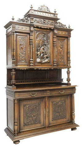 HANDSOME FRENCH WALNUT DEUX CORPS STAG HUNT SIDEBOARD, 19th century (1800's)! - Old Europe Antique Home Furnishings