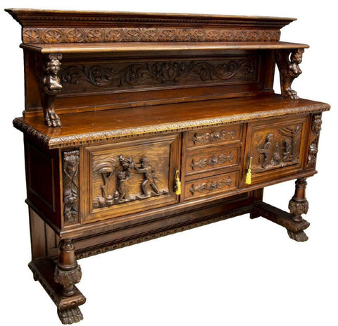 HANDSOME ITALIAN RENAISSANCE REVIVAL FIGURAL SIDEBOARD!!! - Old Europe Antique Home Furnishings