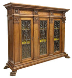 Handsome Italian Renaissance Revival Carved Walnut Bookcase, Early 20th Century - Old Europe Antique Home Furnishings