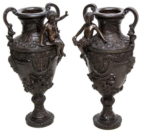 "HANDSOME PAIR LARGE PATINATED BRONZE FIGURAL URNS, 32""H!!! - Old Europe Antique Home Furnishings"