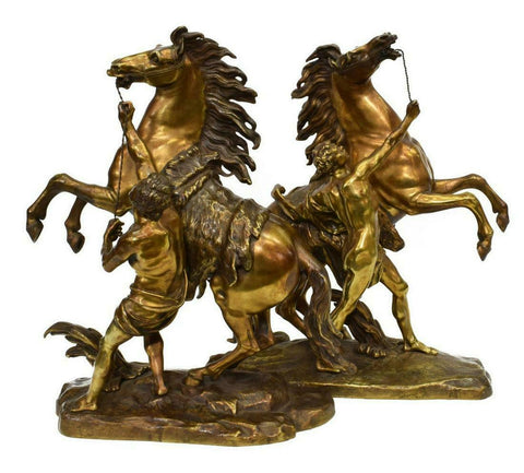 Sculpture, Bronze, After Coustou Pair of Marly Horses, Magnificent Vintage / Antique!!! - Old Europe Antique Home Furnishings
