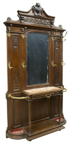 Hall Tree, French Louis Philippe Carved, 19th Century,1800s, Handsome Antique!!! - Old Europe Antique Home Furnishings