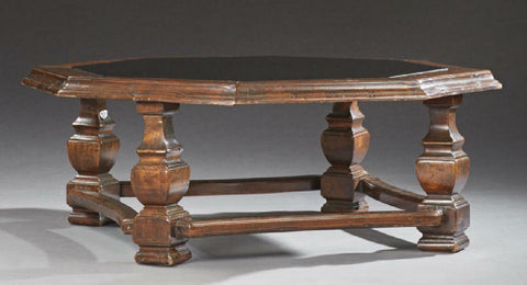 Table, Coffee, French Provincial Carved Oak, w/ Glass, Octagonal, Handsome Vintage !! - Old Europe Antique Home Furnishings